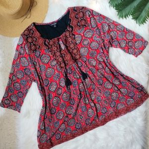 Lucky Brand Linen Embroidered Aztec Pattern Tunic